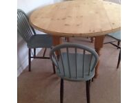 Farmhouse chunky pine table with 4 Oak chairs