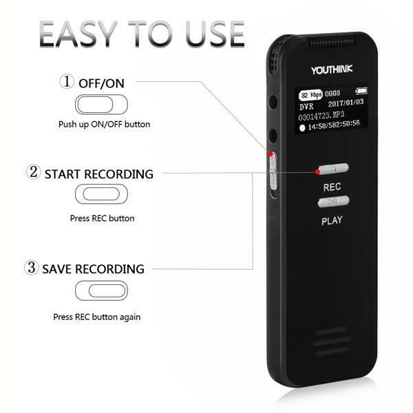 Rechargeable Digital sound/Audio/voice Recorder Dictaphone Mp3 Player USB 8GB