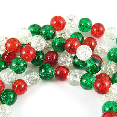 Glass Crackle Bead Christmas Set Red Green   Clear Mix 8Mm  150