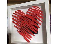 Heart scribble paper cut