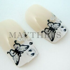Glitter Butterfly French False Nail Full Tips 24pcs @C