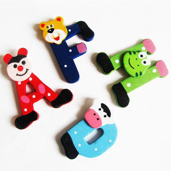 26x A Z Letters Wooden Cartoon Alphabet Fridge Magnets Child Kid Educational Toy
