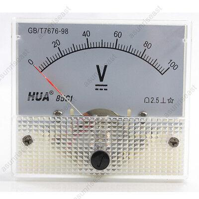 1 Dc 100v Analog Panel Volt Voltage Meter Voltmeter Gauge 85c1 White 0-100v Dc
