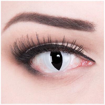 Farbige Fasching Halloween Kontaktlinsen Weiß schwarz Viper Cat Eye Katzenauge (Cat Eye Kontakt)