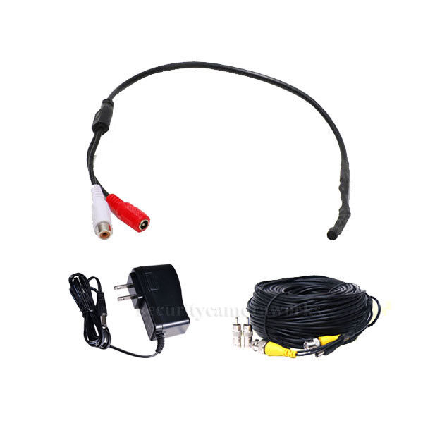 CCTV High Sensitive Microphone Security Camera RCA Audio Mic DC Power& Cable BG7