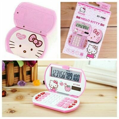 1PC Pink Hello Kitty Mini Portable Function Calculator Solar Uniwise 12 Digital
