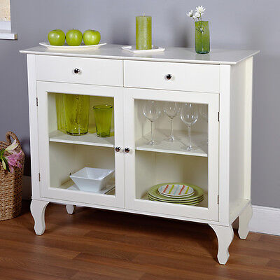 White Glass Door Storage Buffet Sideboard Cabinet Home Dining Room Furniture Den