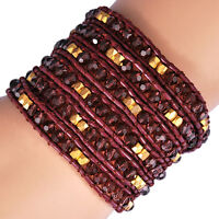 Amethyst & Gold Beads Genuine Leather 5 Wrap Beaded Silver Wrap