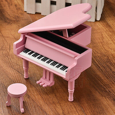 WOOD PINK PIANO WIND UP MUSIC BOX : CANON IN D