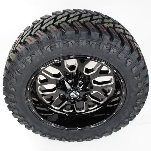 "20"" D588 Fuel Titan 20x10 Black Milled 35x12.50r20 Atturo Trail Blade Mt"