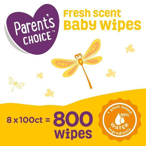 Parents Choice Fresh Scent Baby Wipes, 8 packs of 100 (800 count)