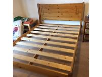 Double bed - pine - going cheap ! Mattress available