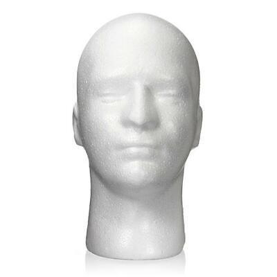 Male Men White Styrofoam Foam Mannequin Manikin Head Stand Hat Headphones Wig Us