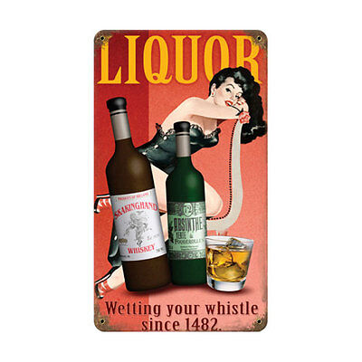 Vintage Liquor Pin-Up Girl Metal Bar Sign - Novelty Pub Decor Drinking Display