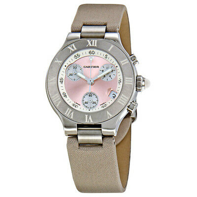 Cartier Chronoscaph Silvered Pink Sunburst Dial Chronograph Ladies Watch