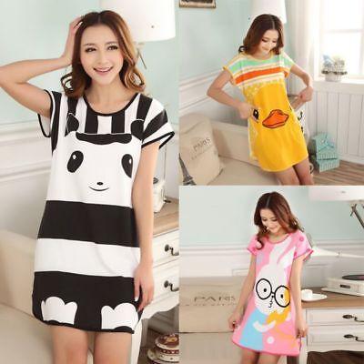 Women Lady Pajamas Sets Summer Short Sleeve Cartoon Print Loose Sleepwear Cotton](Pajamas Sleepwear)
