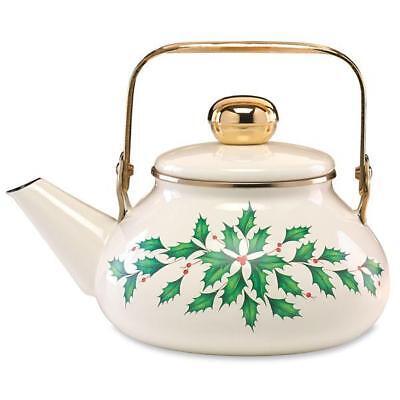 LENOX ~ Holiday TEA KETTLE ~  TEAPOT ~  Brass style Handle  ~ 60 oz NIB