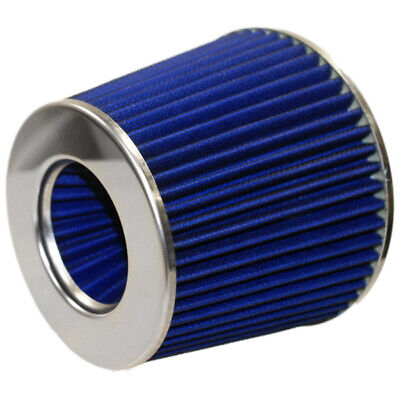 BLUE EASY FIT UNIVERSAL CAR AIR FILTER MOTOR SPORT SOUND INVERTED INTAKE KIT