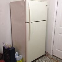 Refrigerator, Laminate floors, and Glass cabinet for sale.