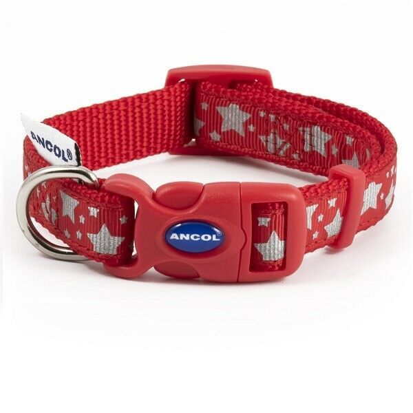 Ancol Reflective Bones, Stars, Hearts Dog Collar or Lead Strong Adjustable Puppy
