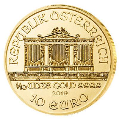1/10 oz Gold Wiener Philharmoniker 2019 - 10 Euro Österreich Goldmünze 999,9