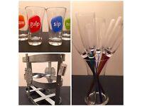 6 champagne flutes, 4 shot glasses and wine bottle holder