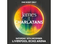 4 tickets to see James & The Charlatans - Saturday 10th December Liverpool echo arena