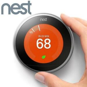 REFURB* NEST LEARNING THERMOSTAT T3007ES 137015399 3RD GENERATION HEATING VENTING COOLING HOME