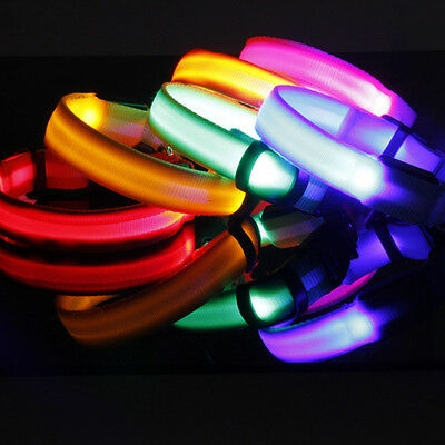 Pet Dog Leash Collar Led Glow In The Dark Light 6 Bright Colors 4 Flash Modes