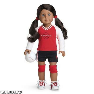 AMERICAN GIRL RED VOLLEYBALL SET~OUTFIT~JERSEY~SHORTS~SHOES~KNEE PADS~BALL~NEW