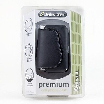 Wireless Gear 4HL896 Premium Cell Phone Case For Small Phones (Black) Brand New