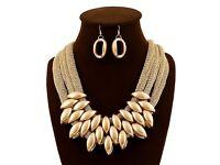 Elegant Fashion Retro Style Choker Statement Bib Knit Necklace and Earrings (Set)
