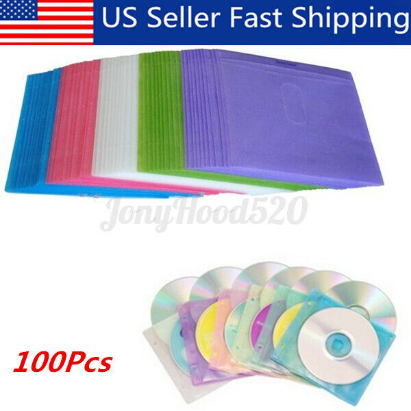 100Pcs DVD CD Disc Double Side Cover Storage Case Plastic Bag Sleeve Holder Pack