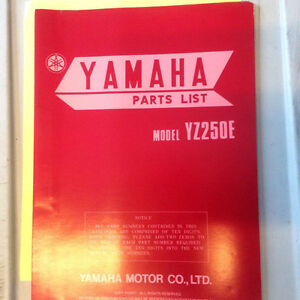 1978 Yamaha YZ250E Parts List
