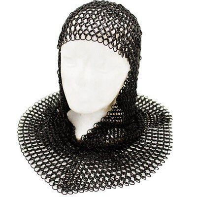 Chain Mail Coif Black Chainmail Hood Knight Armor Reenactment Costume - Chainmail Knight Costume