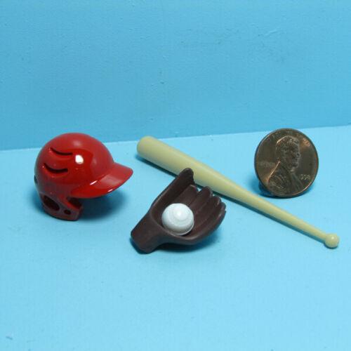 Dollhouse Miniature Baseball Sport Set Helmet Glove Ball and Bat G7741