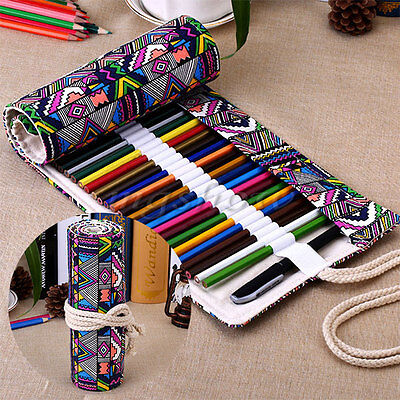 72 Holes Canvas Wrap Roll Up Pen Brush Bag Pencil Case Holder Storage Pouch New