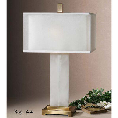 Contemporary White Alabaster Table Lamp Light Rectangle -