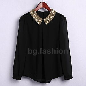 Korea Ladies Sequin Peter Pan Collar Puff Sleeve Sheer Tops Shirt Blouse Sz 8-16