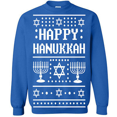 528 Happy Hanukkah Ugly Christmas Sweater Crew Sweatshirt jewish holiday funny - Hanukkah Ugly Sweater