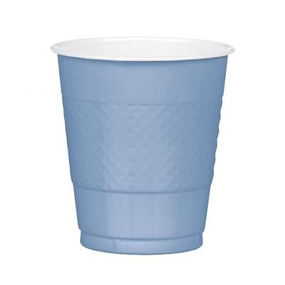20 Baby Blue Pastel Plastic Cup 355ml Colour Birthday Party Shower Tableware Baby Blue Plastic Cup
