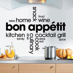 Kitchen text bon appetit montage vinyl wall sticker for Vinilos para murallas