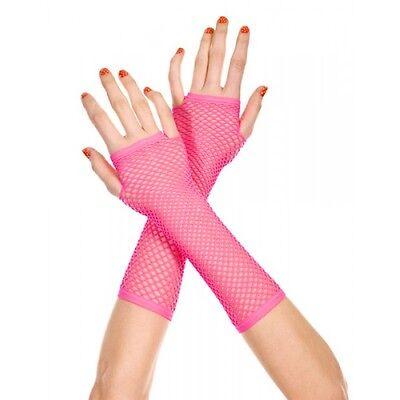Neon Kirschrot Rosa Lang Fischnetz Fingerlose Stulpen Handschuhe Reizwäsche P415 ()