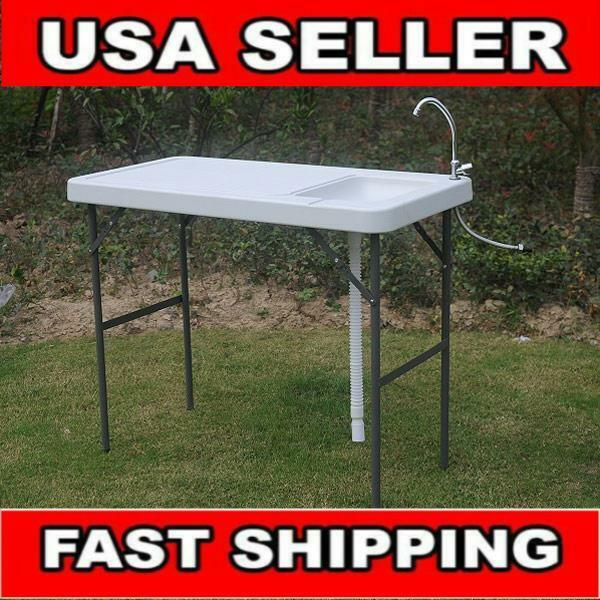 Portable Folding Fish Cleaning Cutting Table Outdoor Camping Kitchen Faucet Sink