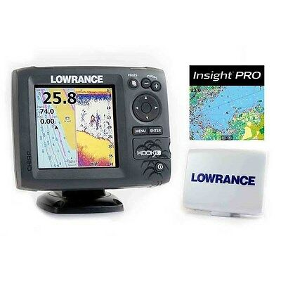 New Lowrance Hook-5 DSI CHIRP BUNDLE w/ Transducer+Nautic Insight Pro+Sun Cover