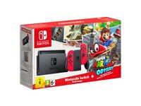 Nintendo Switch with Red Joy-Con Controllers + Super Mario Odyssey & Mario Kart 8 Deluxe Game + Joy