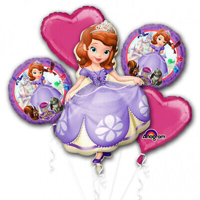 Sofia the First 5pc Bouquet Birthday Party Foil Balloons - Sofia The First Decorations