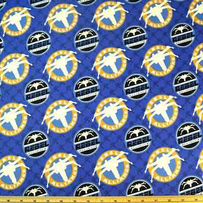 100% Cotton Fabric Star Wars  X Wing Fighters Spaceships Glow In The Dark