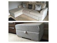 DFS FRAYA Corner Sofa and Storage Footstool