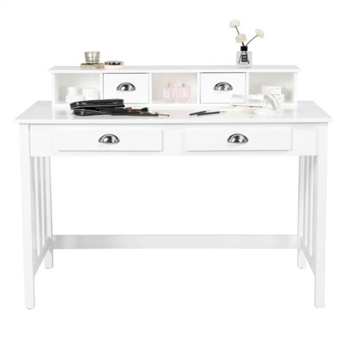 Wood Computer Workstation Writing Desk w/ 4 Drawers Home Office Furniture, White